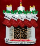 Elegant Fireplace 5 Stockings Christmas Ornament Personalized by Russell Rhodes