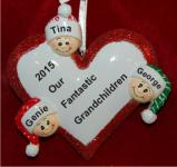 Loving Heart 3 Grandchildren Christmas Ornament Personalized by Russell Rhodes
