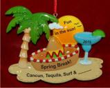 Spring Break in Mexico Christmas Ornament Personalized by Russell Rhodes