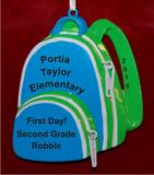 School Backpack for Boy Christmas Ornament Personalized by Russell Rhodes