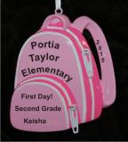 School Backpack for Girl Christmas Ornament Personalized by Russell Rhodes