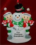 Two Grandkids Building Large Snowman Christmas Ornament Personalized by Russell Rhodes