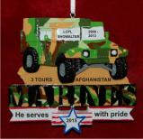U.S. Marine Humvee Honor of Service Christmas Ornament Personalized by Russell Rhodes