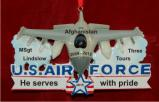U.S. Air Force Fighter Jet Honor of Service Christmas Ornament Personalized by Russell Rhodes