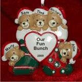 5 Bears Just the Kids Christmas Stockings Christmas Ornament Personalized by Russell Rhodes