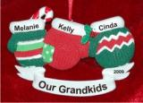Christmas Mittens 3 Grandkids Christmas Ornament Personalized by Russell Rhodes