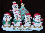 5 Winter Penguins Family Christmas Ornament Personalized by Russell Rhodes