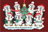 8 Winter Penguins Our Family Personalized Christmas Ornament Personalized by Russell Rhodes