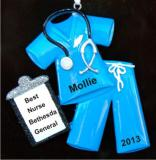 Medical Scrubs Blue Christmas Ornament Personalized Personalized by Russell Rhodes