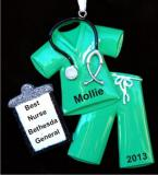 Medical Scrubs Green Christmas Ornament Personalized Personalized by Russell Rhodes