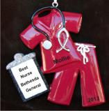 Medical Scrubs Maroon Christmas Ornament Personalized Personalized by Russell Rhodes