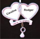 We're Engaged Two Hearts Become As One Christmas Ornament Personalized by Russell Rhodes