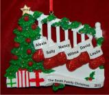 Family Banister Family of 6 Christmas Ornament Personalized by Russell Rhodes