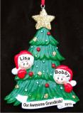 My Two Grandkids Looking Out for Santa Christmas Ornament Personalized by Russell Rhodes