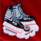 Hockey Skates Like Lightning Christmas Ornament Personalized by Russell Rhodes