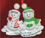Snowkids Naughty or Nice We Love You Both! Christmas Ornament Personalized by Russell Rhodes