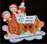 Gingerbread House Two Grandkids Christmas Ornament Personalized by Russell Rhodes