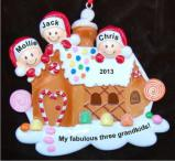 Gingerbread House Three Grandkids Christmas Ornament Personalized by Russell Rhodes