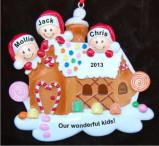 Gingerbread House Our Three Kids Christmas Ornament Personalized by Russell Rhodes