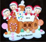 Gingerbread House Our Four Kids Christmas Ornament Personalized by Russell Rhodes