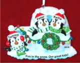 Igloo for 3 - Our 3 Kids Christmas Ornament Personalized by Russell Rhodes