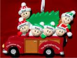 This Year's Christmas Tree Wagon Family of 6 Christmas Ornament Personalized by Russell Rhodes