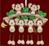 Monkey See Monkey Do Family of 6 Christmas Ornament Personalized by Russell Rhodes