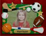Sports Fanatic Picture Frame for Girls or Boys Christmas Ornament Personalized by Russell Rhodes