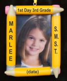 Personalized Pencil School Age Picture Frame Christmas Ornament Personalized by Russell Rhodes