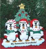 Winter Family of 3 Tabletop Christmas Ornament Personalized by Russell Rhodes