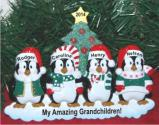Winter Family of 4 Tabletop Christmas Ornament Personalized by Russell Rhodes