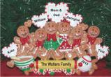 Gingerbread Family of 6 Tabletop Chistmas Decoration Personalized by Russell Rhodes