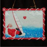 Wind Surfing Santa Christmas Ornament Personalized by Russell Rhodes