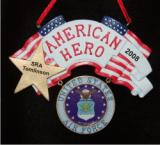 Air Force Military Hero Christmas Ornament Personalized by Russell Rhodes