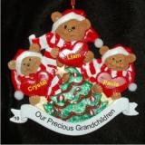 Our 3 Grandchildren Teddy Bears Christmas Ornament Personalized by Russell Rhodes