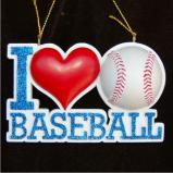 I Love Baseball Christmas Ornament Personalized by Russell Rhodes