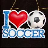 I Love Soccer Christmas Ornament Personalized by Russell Rhodes