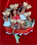 Family of 6 Fishing Christmas Ornament Personalized by Russell Rhodes