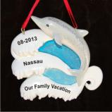 To the Joy of Dolphins and the Peace of the Beach Vacation Christmas Ornament Personalized by Russell Rhodes