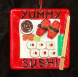 Yummy Sushi Christmas Ornament Personalized by Russell Rhodes