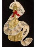 Golden Cello with Sheet Music Christmas Ornament Personalized by Russell Rhodes
