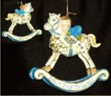 Blue Baby Antiques Rocking Horse Christmas Ornament Personalized by Russell Rhodes