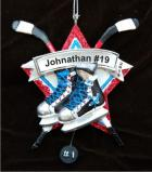 Hockey Skater Christmas Ornament Personalized by Russell Rhodes