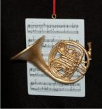 French Horn with Musical Score Christmas Ornament Personalized by Russell Rhodes