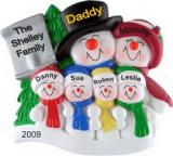 Top Hat Snow Family for 6 with Tree Christmas Ornament Personalized by Russell Rhodes