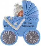 Cute as Can Be Buggy Blue Christmas Ornament Personalized by Russell Rhodes