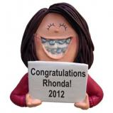 Braces Female Brown Hair Christmas Ornament Personalized by Russell Rhodes