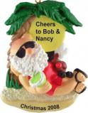 Beach Reclining Santa Christmas Ornament Personalized by Russell Rhodes
