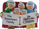 Night Before Christmas Family of 5 Christmas Ornament Personalized by Russell Rhodes