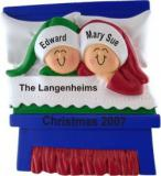 Christmas Morning Family of 2 Christmas Ornament Personalized by Russell Rhodes